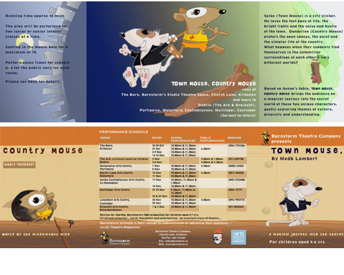 Brochure for Barnstorm Theatre: Town Mouse, Country Mouse