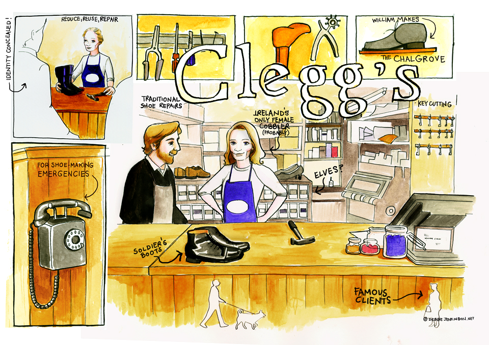 A docu-comic made in Cleggs in Rathmines, the friendly shoe wizards. Thanks to Emily, Ireland's only female cobbler (probably!) and William Clegg.
